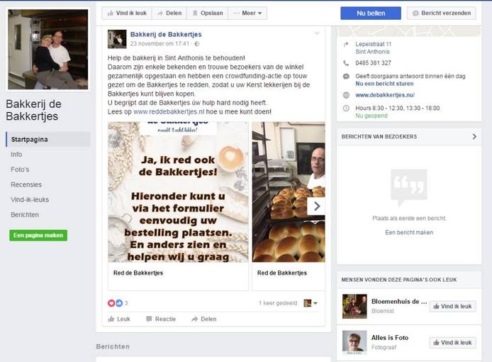 De Facebookpagina van De Bakkertjes.