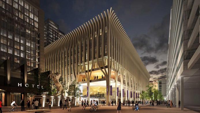 Het ontwerp voor het nieuwe cultuurcomplex aan het Spui van de architecten Coenen en Fransen.