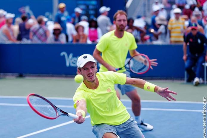 Wesley Koolhof in actie tijdens de US Open.