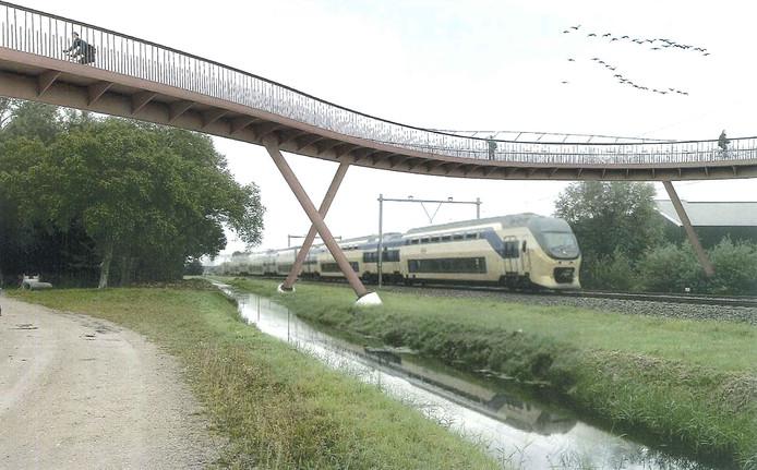 Er wordt een minimaal aantal steunpilaren geplaatst rond de spoorwegovergang.