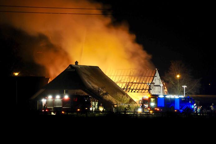 Een schuur aan de Roggeweg in Rheden brandde volledig af.