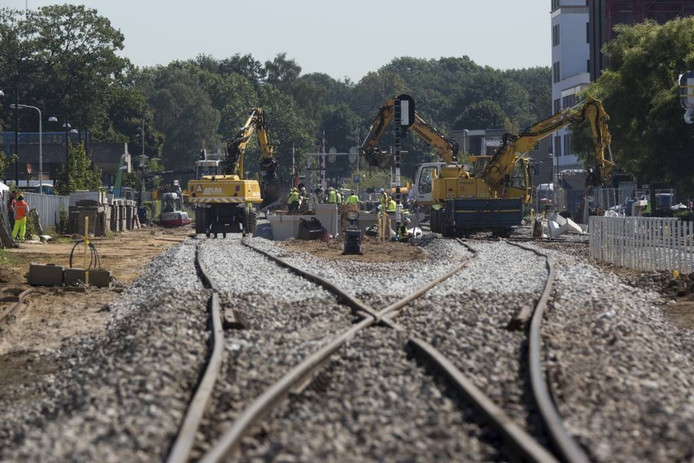 Werkzaamheden aan het spoor afgelopen week in Doetinchem.