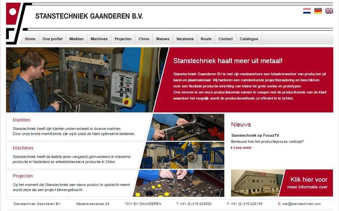 De website van Stanstechniek Gaanderen.