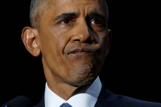 Barack Obama bij zijn afscheidsspeech.
