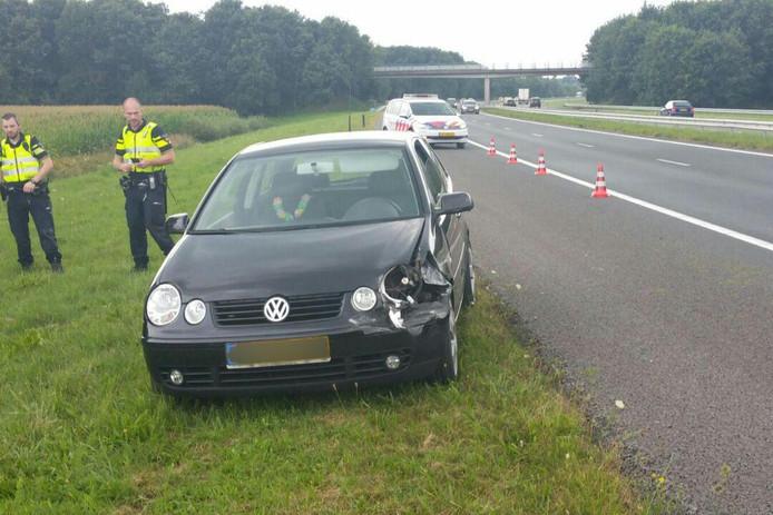 De bestuurder kon de auto nog naar de vluchtstrook sturen.