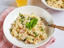 Wat Eten We Vandaag: Risotto met spekjes, courgette en munt