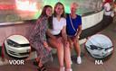 Vlnr: Zusjes Margriet en Annabel en moeder Trees uit Emmeloord tijdens hun vakantie in Turkije. Izetje links: de Volkswagen Golf van Trees zoals die er uitzag bij overdracht aan valetparkingbedrijf Topvalet Service, rechts zoals die eruitzag bij terugkomst.