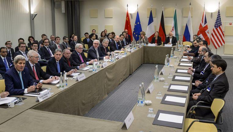 De onderhandelingspartners in Lausanne. Beeld anp