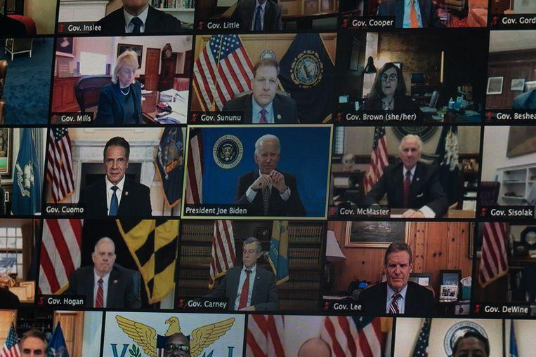 President Joe Biden in een eerdere digitale meeting tussen gouverneurs. Beeld AP