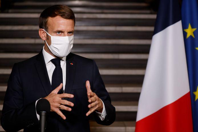 Emmanuel Macron lors d'une allocution à la préfecture de Bobigny ce mardi.