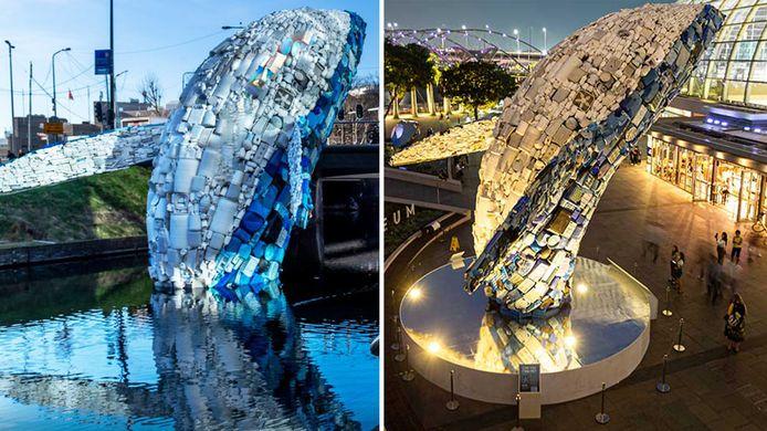 De plastic walvis: eerste in de Catharijnesingel in Utrecht, nu in Singapore