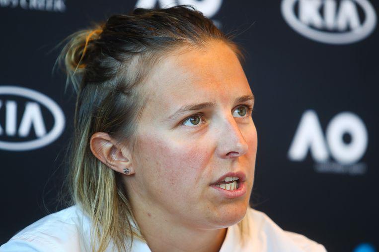Kisten Flipkens op een persconferentie na haar uitschakeling tegen Magdalena Rybarikova. Beeld BELGA