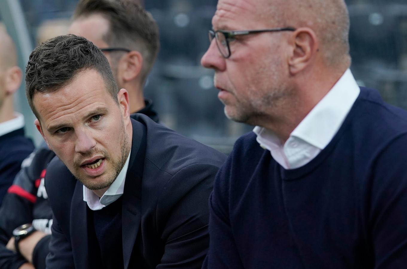 Frank van Mosselveld en RKC-trainer Fred Grim.