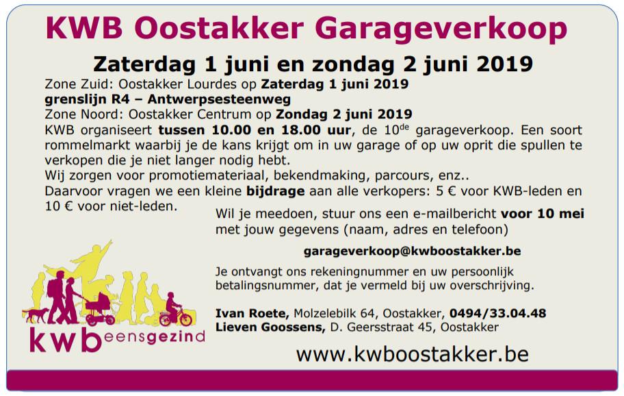 KWB Oostakker organiseert garageverkoop.