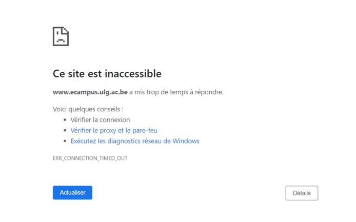 Message d'erreur qui apparaît lorsque l'on essaie de se connecter à la plateforme ecampus de l'Université de Liège.
