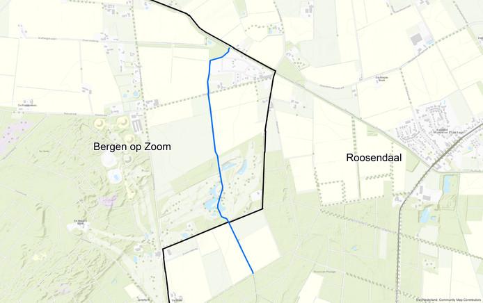 De blauwe lijn is de ecologische verbindingszone die langs de Bleekloop komt te liggen.  De zone ligt grotendeels op Bergs grondgebied.