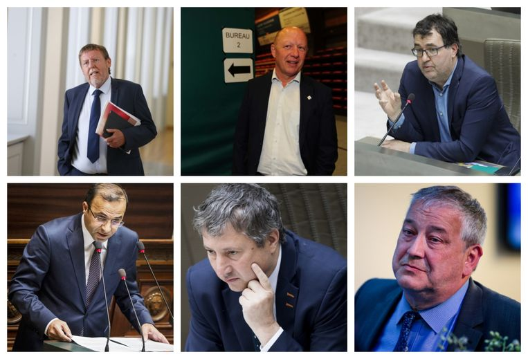 Uittredend kamervoorzitter Siegfried Bracke (N-VA), Vilvoords burgemeester Hans Bonte, Wouter Van Besien (Groen), Veli Yüksel (Open Vld, ex-CD&V), Ludo Van Campenhout (N-VA) en Luk Van Biesen (Open Vld) Beeld belga - photo_news