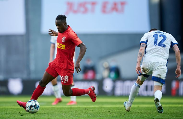 Sulemana speelt momenteel bij FC Nordsjaelland, de Deense club waar Ajax ook Mohammed Kudus vandaan haalde.  Beeld FrontzoneSport via Getty Images