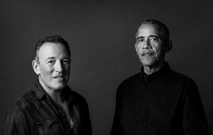 Zanger Bruce Springsteen (links) en politicus Barack Obama (rechts).