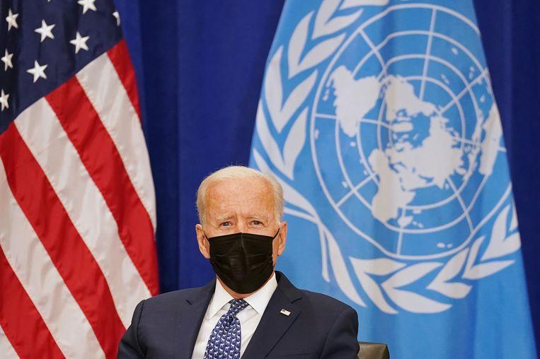 President Joe Biden op de jaarvergadering van de Verenige Naties in New York. Beeld REUTERS