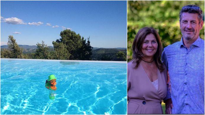 Lieve Louage en Kurt Goethals, links een glimp van hun prachtige domein in Zuid-Ardèche