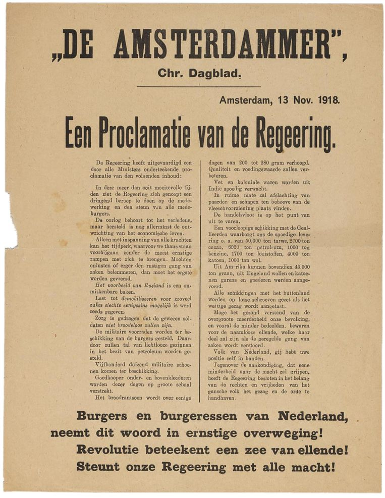 Proclamatie van de Regeering van 13 november 1918, tegen revolutie. Beeld -