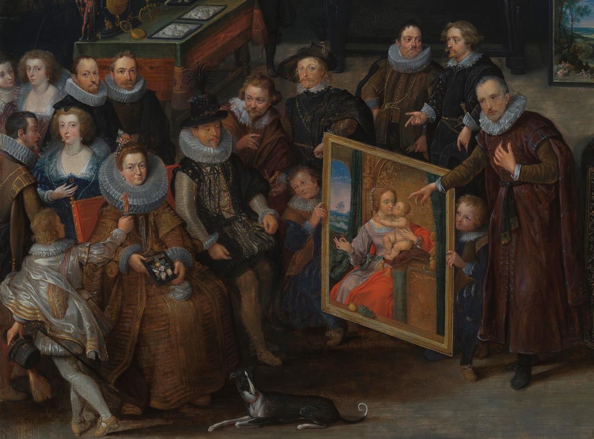 Een fijn detail uit het schilderij van Willem van Haecht: collectioneur Cornelis van der Geest (rechts) toont een schilderij van Quiten Matsys aan aartshertogen Albrecht en Isabella (links)