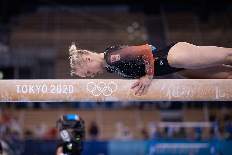 Lieke Wevers in actie tijdens de olympische meerkampfinale. Beeld Pro Shots / George Deswijzen