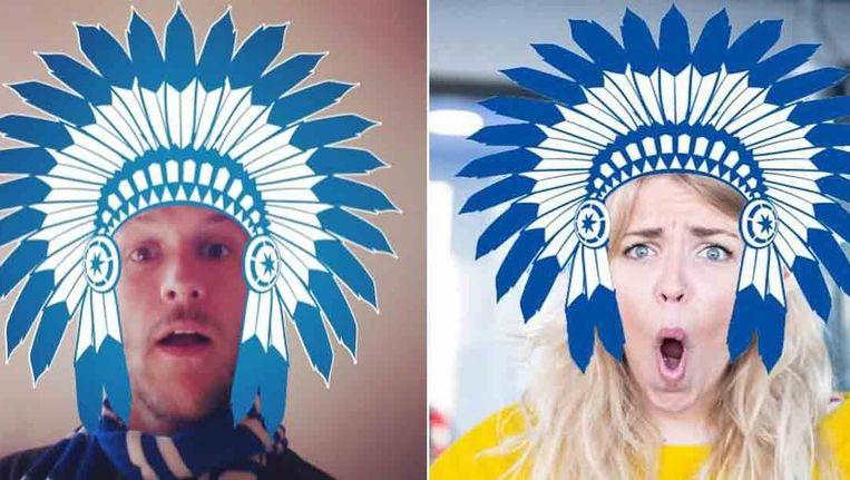 Frederik Sioen en Julie Van den Steen met de typische indianenpluimen via buffalizer.glossy.tv. Straks 'Iedereen Buffalo'? Beeld kos