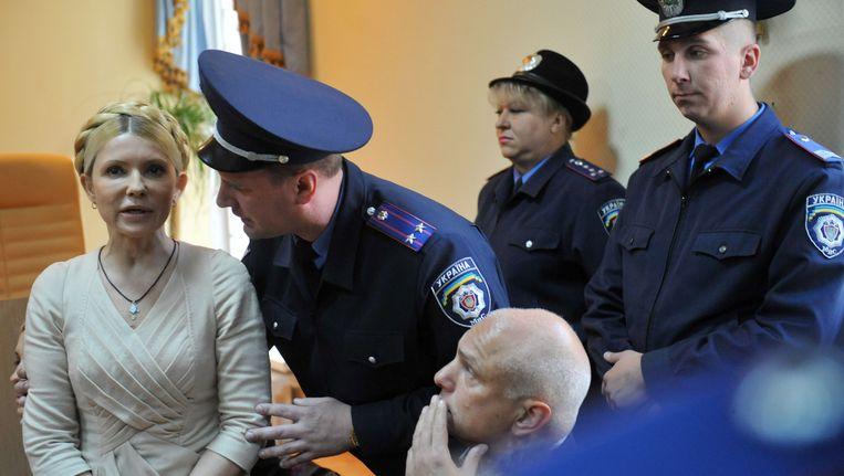 De gevangen voormalige Oekraïense premier Julia Timosjenko. Beeld AFP