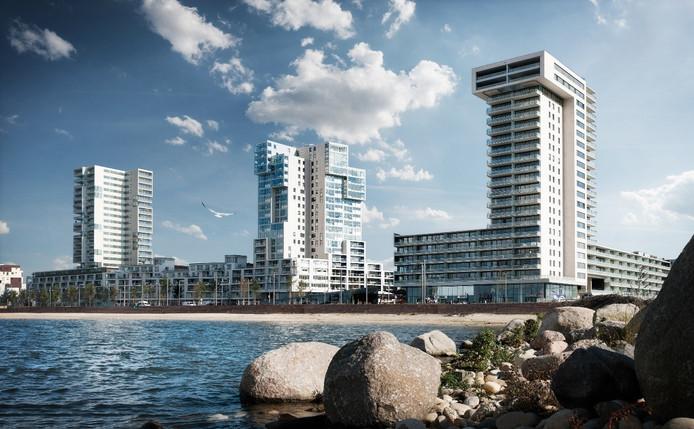 Met woontoren Kopenhagen erbij (links) krijgt de skyline van Nesselande weer een ander uiterlijk