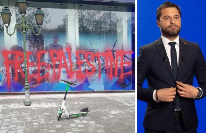 """""""Free Palestine"""", peut-on lire en lettres rouges sur la façade du siège du parti politique"""