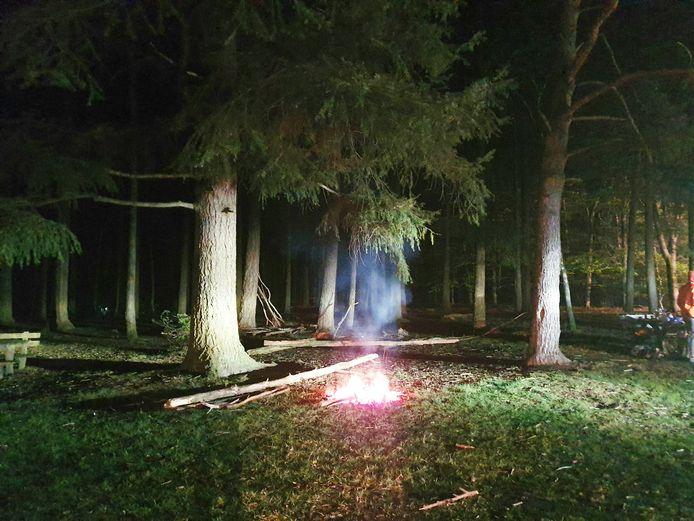 De brandweer bluste in de nacht van vrijdag op zaterdag een kampvuurtje, dat enkele jongeren op de Dagcamping bij Holten hadden aangestoken.