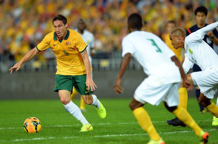 2014: Mark Milligan tijdens een interland tegen Zuid-Afrika.