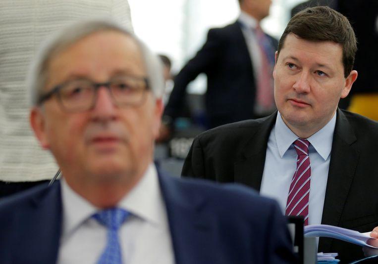 Martin Selmayr en Commissievoorzitter Juncker Beeld REUTERS