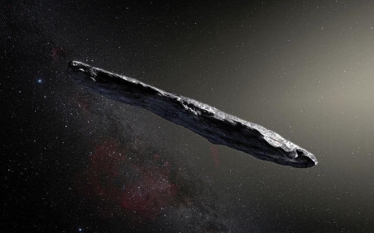Een impressie van Oumuamua door de Europese Zuidelijke Sterrenwacht (ESO).