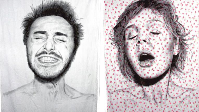 De Argentijnse artiest Diego Beyro tekende voor zijn serie 'Orgams' op lakens de gezichts- uitdrukking van mensen die klaarkomen. Beeld Diego Beyro