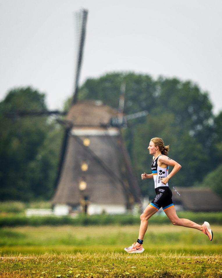 Bij het laatste onderdeel, het hardlopen. Beeld Jiri Büller / de Volkskrant