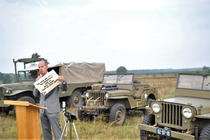Richard Velt van Renkum Leeft liet een bord zijn met tekst bedoeld voor de veteranen die er nu niet bij de herdenking in Renkum kunnen zijn.