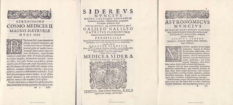 Pagina's van de vervalste versie van 'Sidereus nuncius' van Galileo Galilei in de Spaanse nationale bibliotheek in Madrid. Beeld Biblioteca Nacional de España