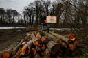 Protest bij de Douwelerkolk waar veel bomen gerooid zijn.