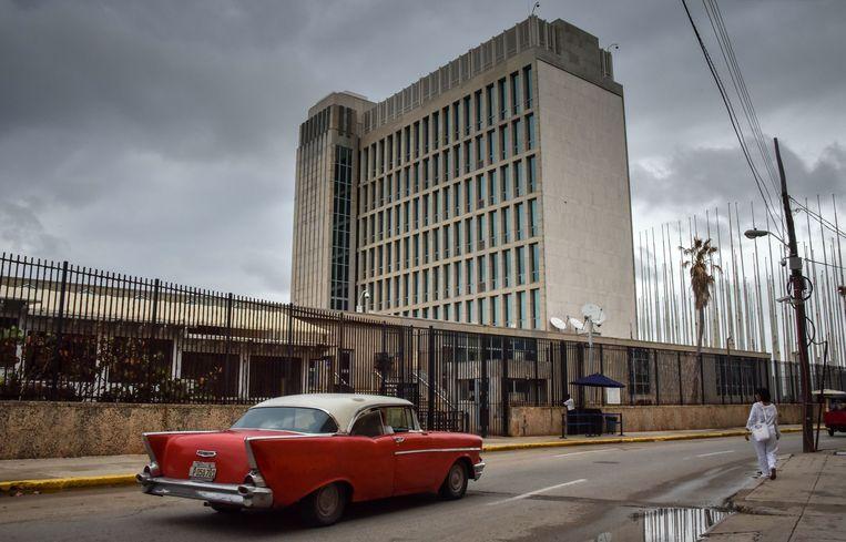 De Amerikaanse ambassade in Havana. Beeld AFP