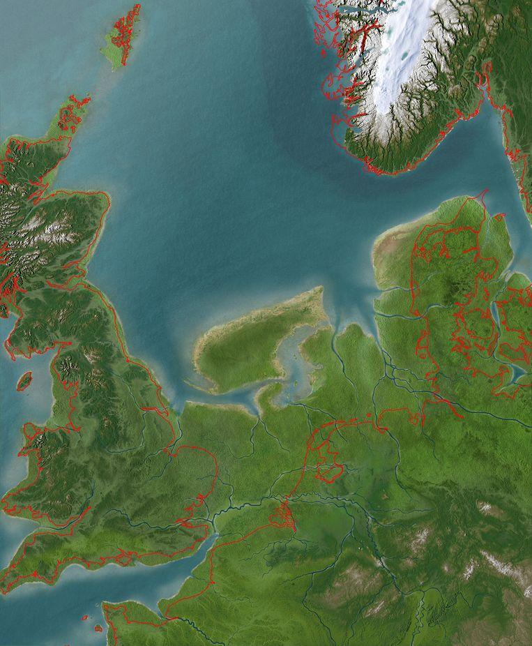 Kaart van Doggerland, met in rood de huidige kustlijn van Noordwest-Europa. Beeld Olav Odé voor RMO