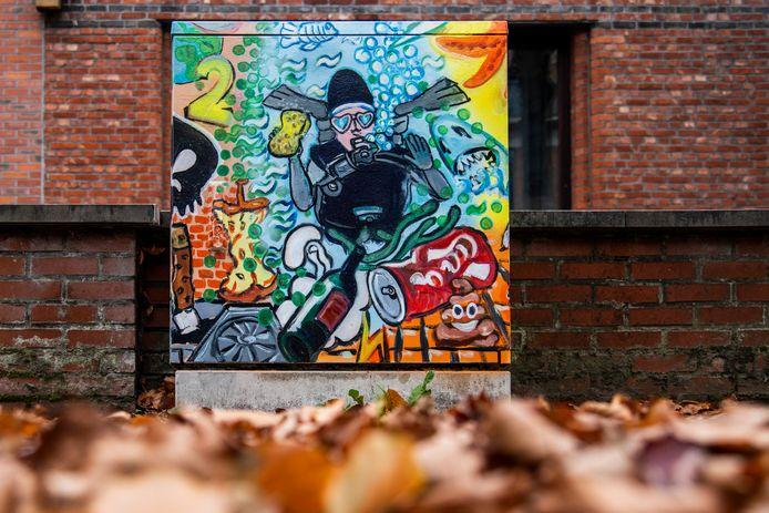 De straatkunst fleurt het straatbeeld op.
