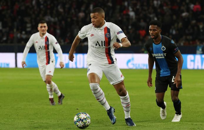 Kylian Mbappé in actie in het Champions League-duel met Club Brugge (1-0).