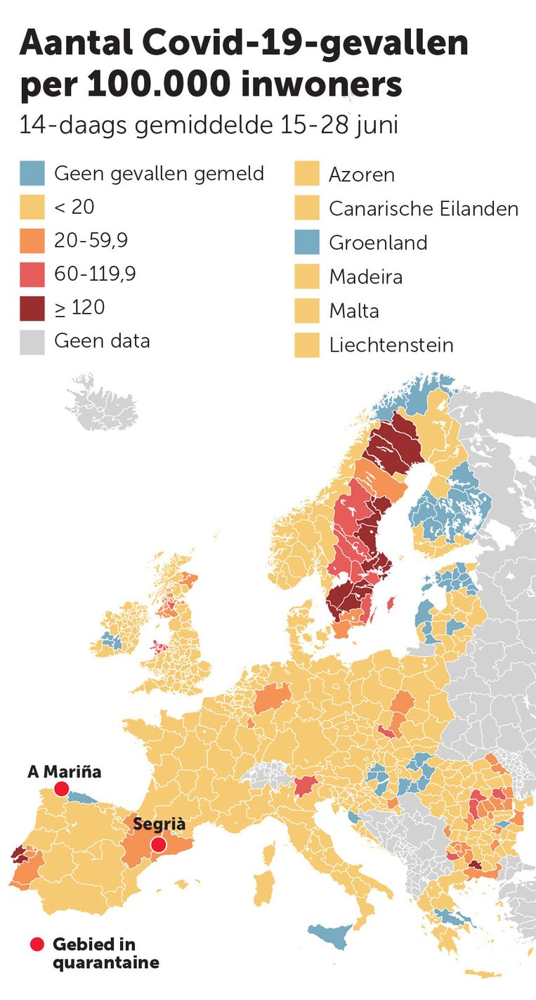 In kaart: het aantal Covid-19-gevallen per 100.000 inwoners. Beeld De Morgen