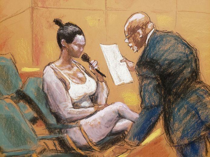 Jane Doe #5 wordt ondervraagd in de rechtbank