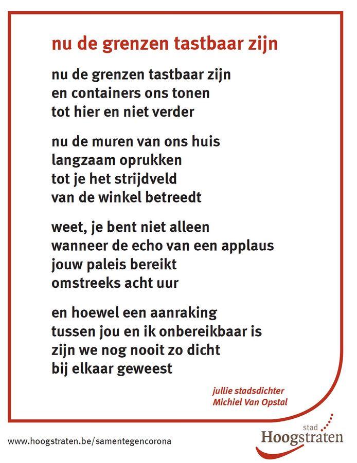 Het gedicht van Michiel Van Opstal, de stadsdichter van Hoogstraten.