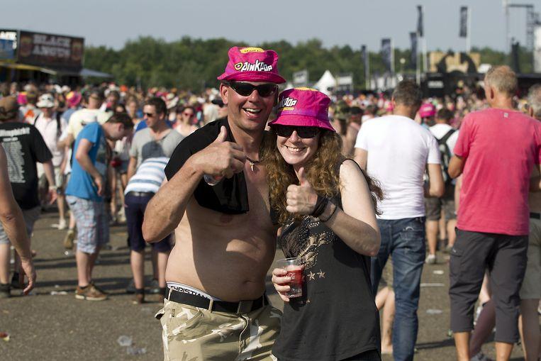Bezoekers van Pinkpop vorig jaar, dat vandaag van start ging Beeld ANP