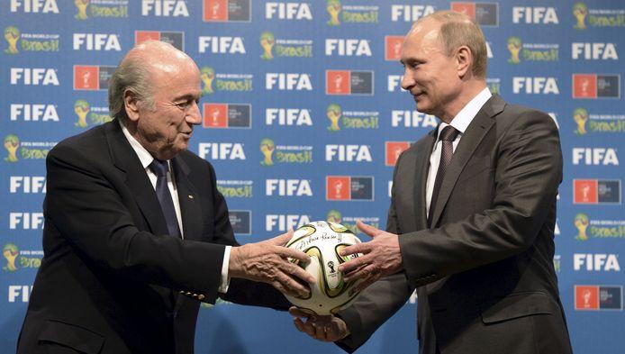 Voormalig FIFA-president Sepp Blatter met de Russische president Vladimir Poetin.